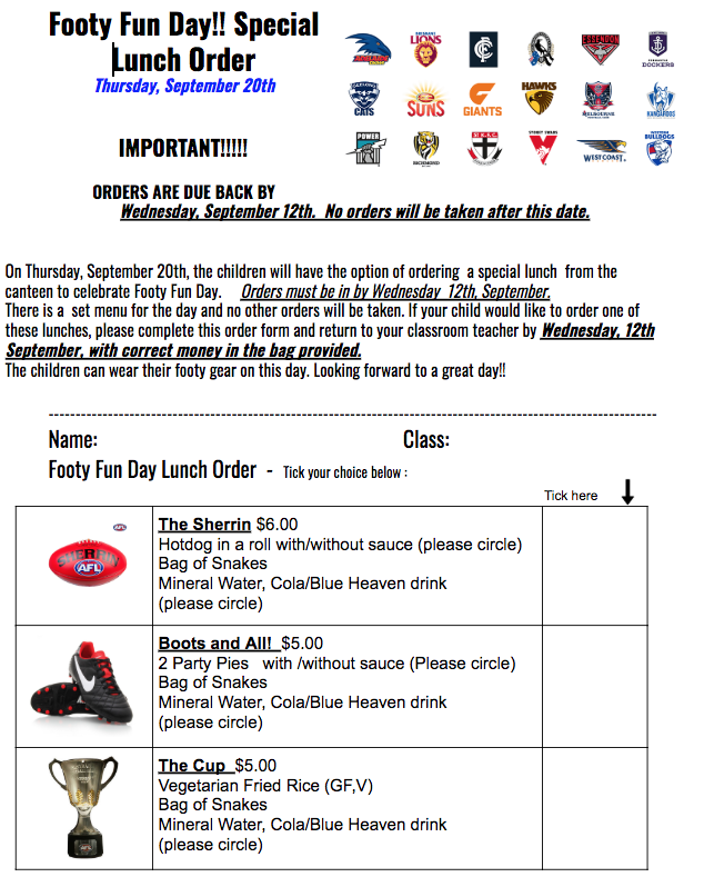 Footy Fun Day! Special Lunch Order – St Peter Apostle Primary ... 8a7abc69e